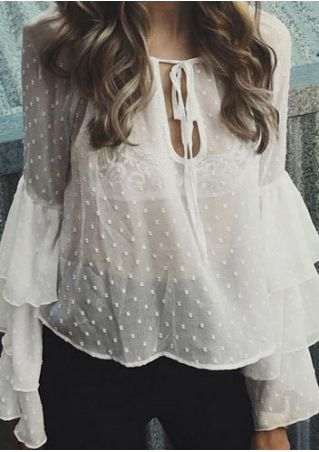 Solid Layered See-Through Blouse