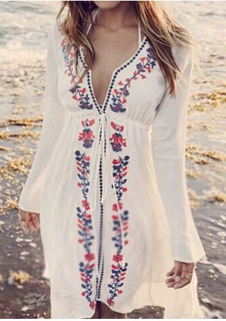 Floral Deep V-Neck Cover Up