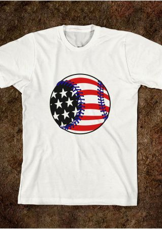 Baseball American Flag Printed O-Neck T-Shirt