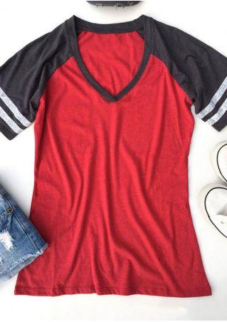 Color Block V-Neck Baseball T-Shirt Color