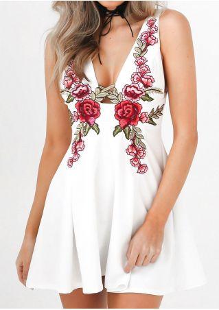 Applique Deep V-Neck Mini Dress without Necklace