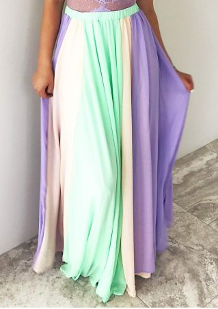 Color Block Elastic Waist Long Skirt