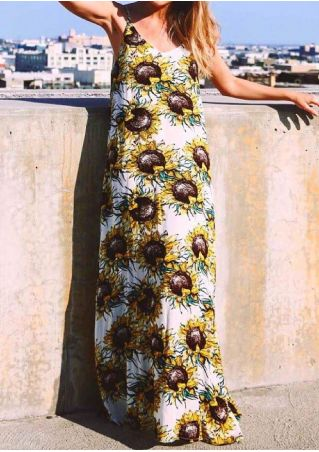 Sun Flower Printed Spaghetti Strap Maxi Dress