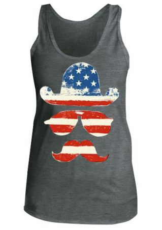 American Flag Hat Glasses Tank