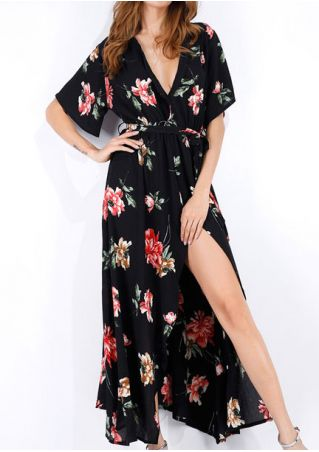 Floral Deep V-Neck Slit Maxi Dress with Belt