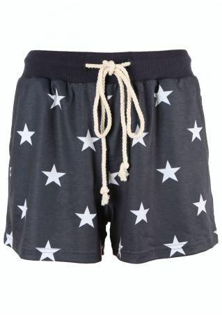 Star Printed Drawstring Pocket Shorts