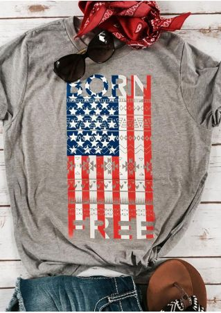Born Free American Flag T-Shirt