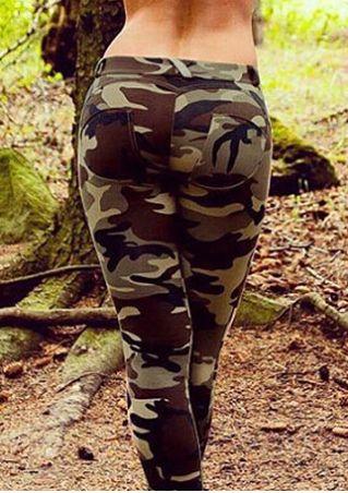 Camouflage Printed Elastic Waist Pants