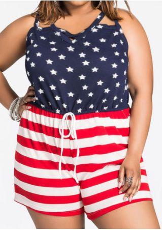 American Flag Back Hole Romper American