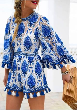 Tassel Splicing Printed Hole Romper