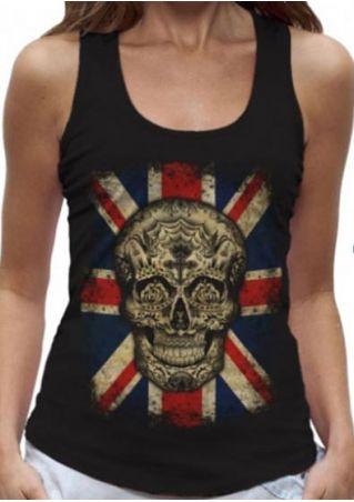 Skull British Flag Printed Tank