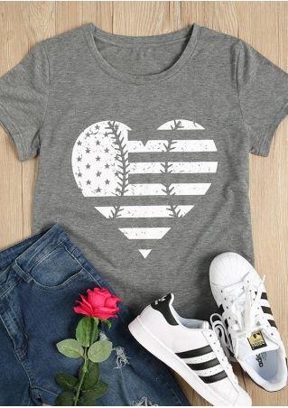 American Flag Heart T-Shirt American