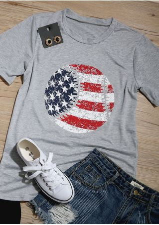 American Flag Baseball Printed O-Neck T-Shirt