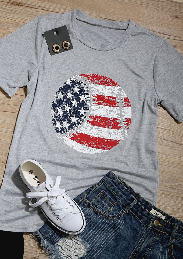 American Flag Baseball Printed O Neck T Shirt Fairyseason