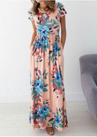 Floral O-Neck Short Sleeve Pocket Casual Dress