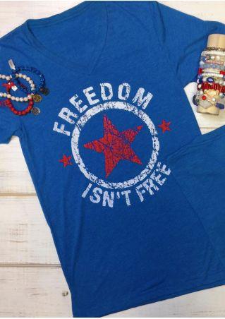 Freedom Isn't Free Star Printed T-Shirt