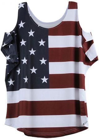 American Flag Printed Cold Shoulder Blouse American