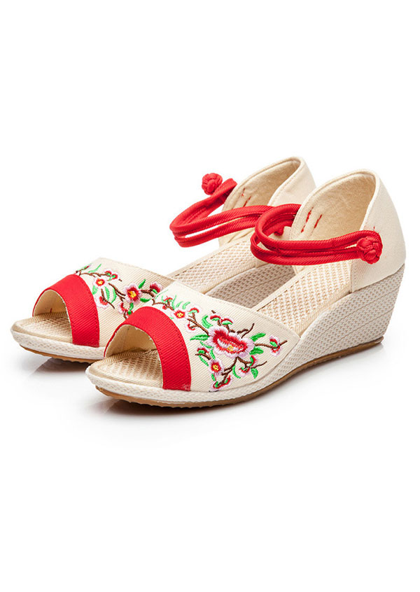 Image of Embroidery Floral Wedge Sandals