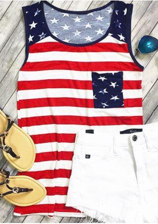 American Flag Striped O-Neck Tank American