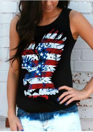 American Flag Printed Eagle O-Neck Tank American