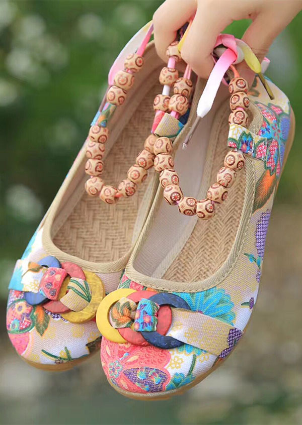 Image of Floral Ring Beading Round Toe Flats