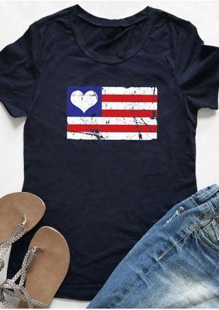 Heart Striped Printed O-Neck T-Shirt