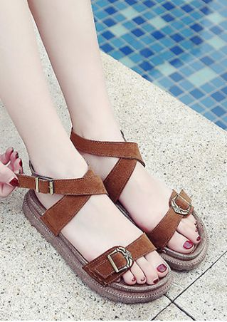 Summer Cross Buckle Strap Flat Sandals