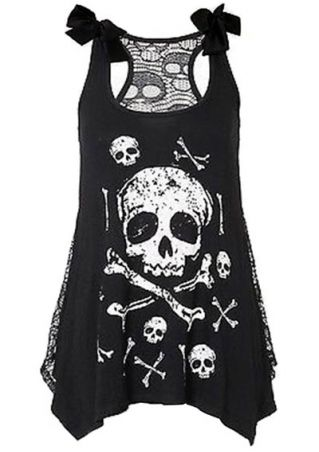 Skull Lace Splicing Kont Asymmetric Tank