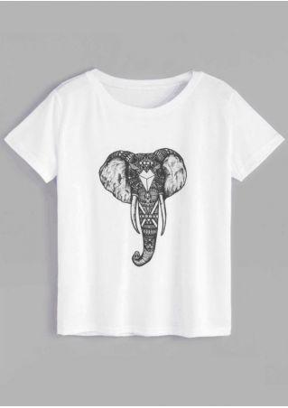 Elephant O-Neck Short Sleeve T-Shirt