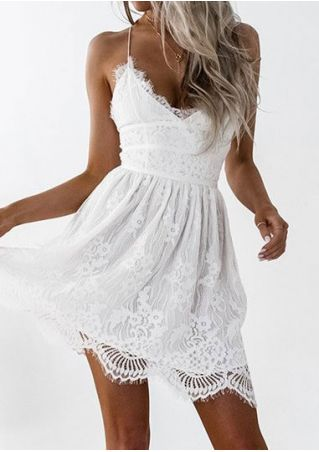 Solid Lace Floral Spaghetti Strap Backless Mini Dress
