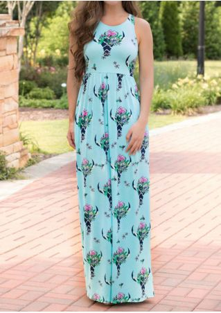 Floral Steer Bull Printed Casual Dress