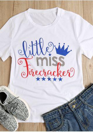 Little Miss Firecracker O-Neck T-Shirt