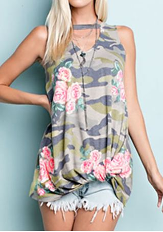 Floral Camouflage Printed Tank without Necklace