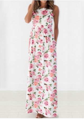 Floral Pocket Sleeveless Casual Dress