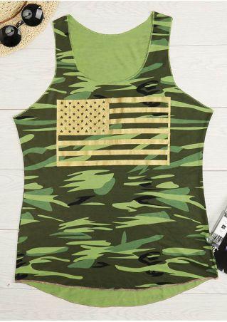 American Flag Camouflage Printed Tank American