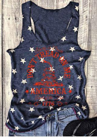 Don't Tread On Me America Star Printed Tank