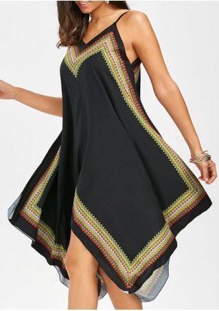 Printed Spaghetti Strap Asymmetric Casual Dress
