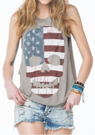 American Flag Skull O-Neck Tank