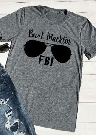 FBI Glasses O-Neck Casual T-Shirt