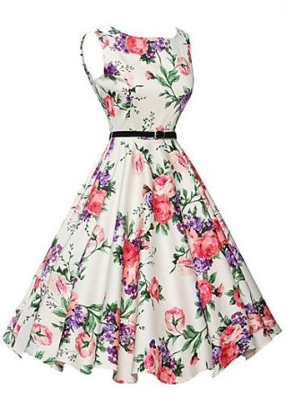 Floral Sleeveless Casual Dress with Belt