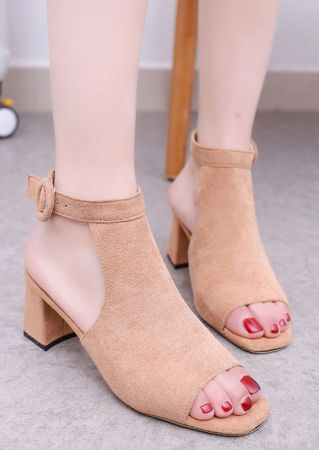 Solid Buckle Strap Heeled Sandals