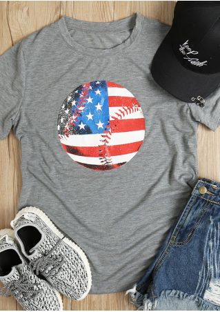 American Flag Printed O-Neck Short Sleeve T-Shirt