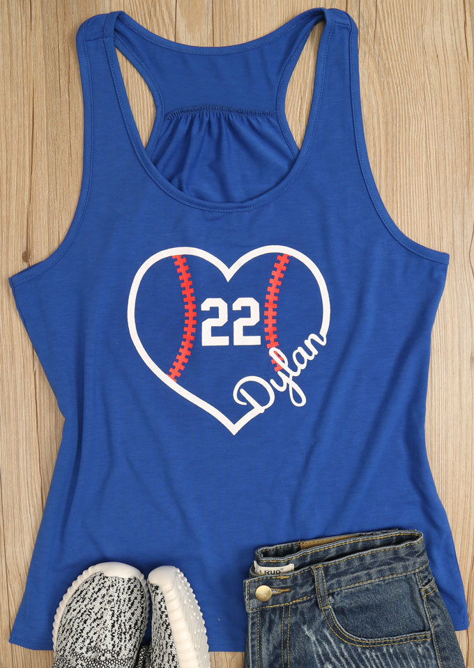 Image of 22 Heart Printed O-Neck Tank