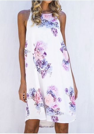 Floral Sleeveless O-Neck Mini Dress