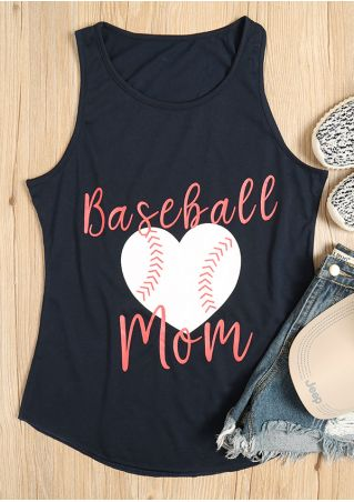 Baseball Mom Heart Printed O-Neck Tank