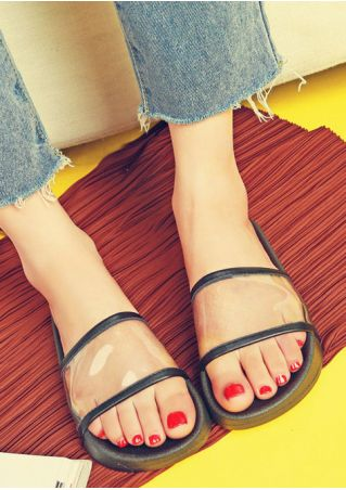 Splicing Transparent Flat Slide Sandals