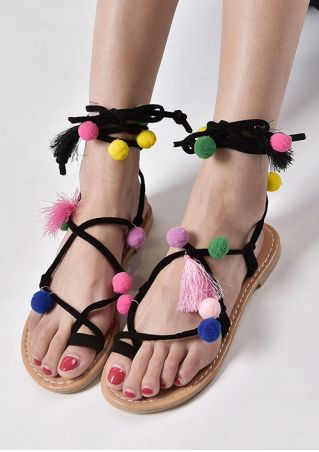 Pompon Lace Up Tassel Flat Sandals