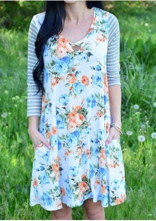 Floral Striped Splicing Criss-Cross Mini Dress