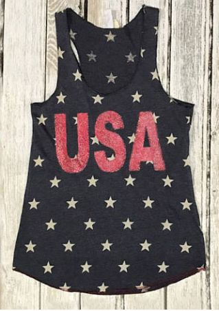 USA Star O-Neck Casual Tank