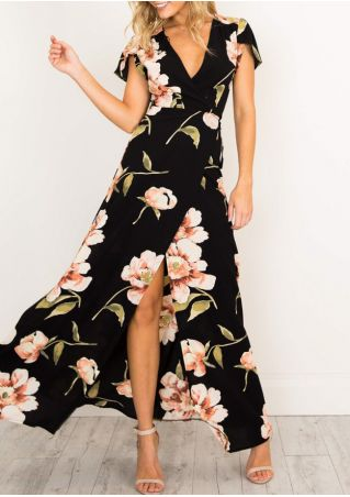 Floral V-Neck Slit Maxi Dress with Belt